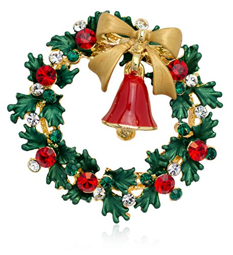 Akianna-Christmas-Wreath-and-Bell-Brooch-Pin-with-Swarovski-Element-Crystals