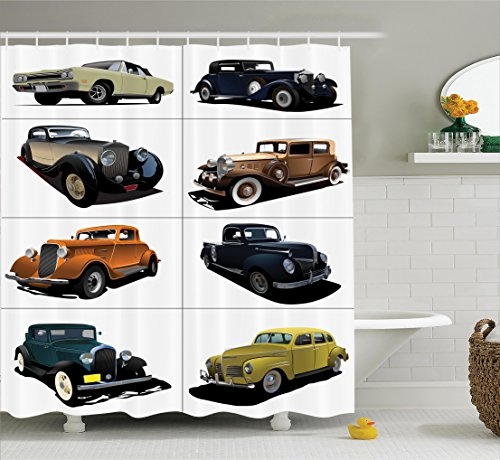 Rare Vintage Fabric - Ambesonne Cars Shower Curtain, Rare Fifties Vintage Cars with Closed Roof Tops Original Timeless Automobile Graphic, Fabric Bathroom Decor Set with Hooks, 84 Inches Extra Long, Cream