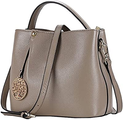 Iswee Women's Genuine Leather Bucket Bag Small Tote Purse Top Handle Handbag Crossbody Shoulder Bag Messenger Bag for Women