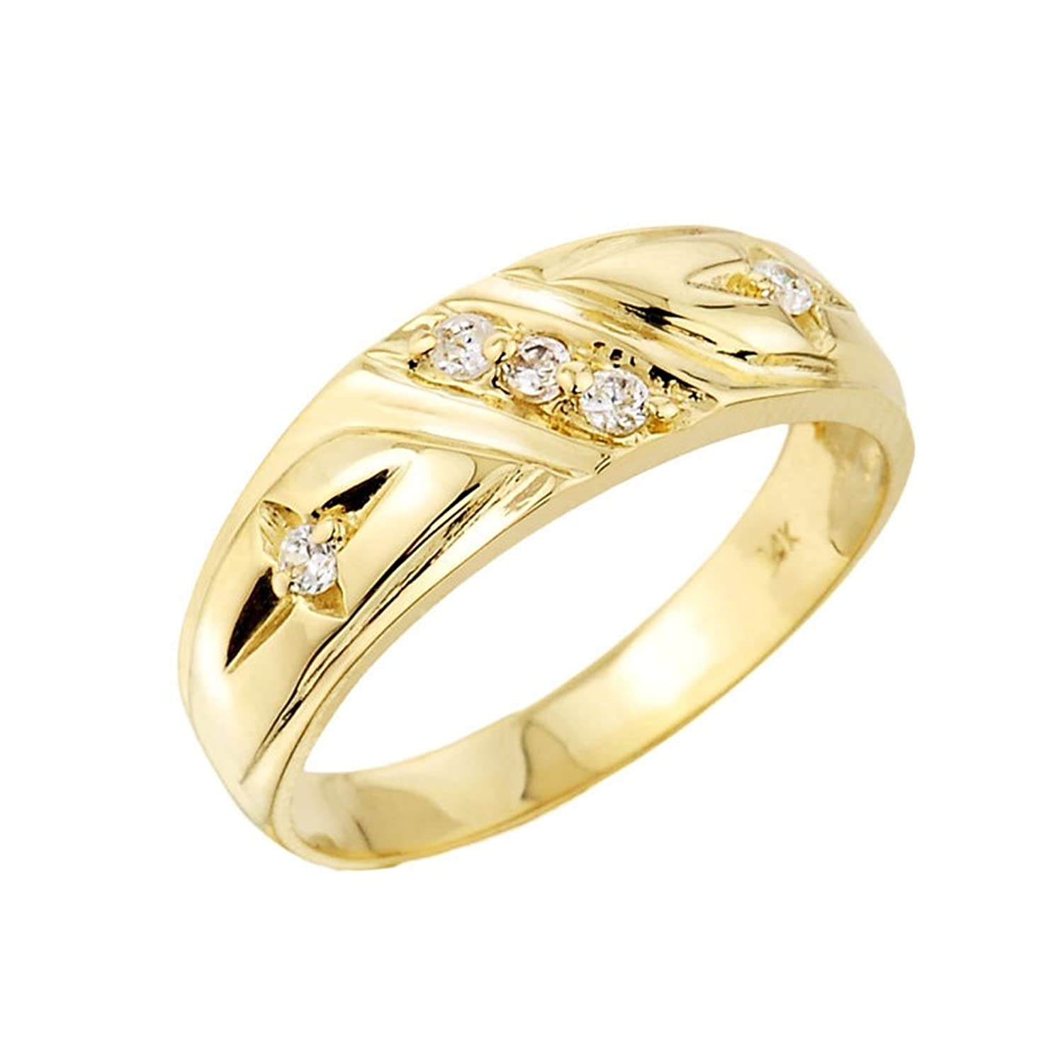 Mens 10k Yellow Gold 5 Stone Diamond Wedding Ring Band