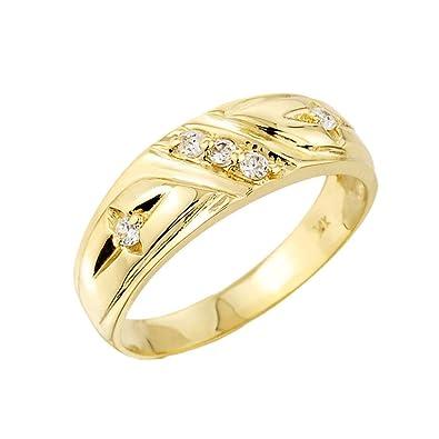 d277180a16 Men's 14k Yellow Gold 5-Stone Diamond Wedding Ring Band | Amazon.com