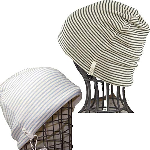 医療用帽子 抗がん剤帽子 ニット メンズ レディース/ボーダーシャロット2枚