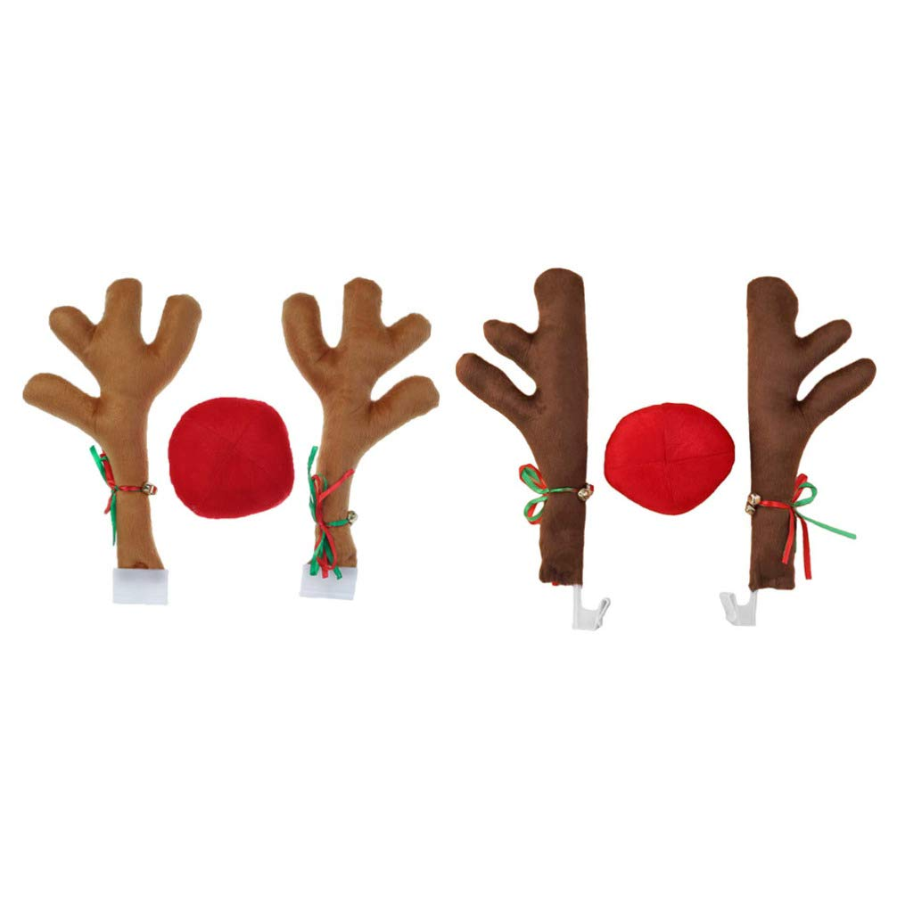 VORCOOL 2 Set Christmas Car Decorations Car Reindeer Antlers with Nose Kit Vehicle Windows Antler Ornaments Xmas Car Styling Gift (Brown)