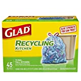 Glad Tall Kitchen Drawstring Recycling Trash Bags, 45 Count