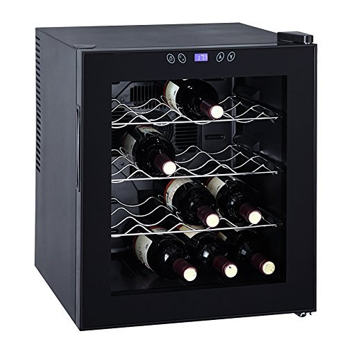 SMETA 16 Bottles Thermoelectric Mini Wine Cooler refrigerator Counter Top Bevarage Beer Cooler Fridge with LED Display by SMETA