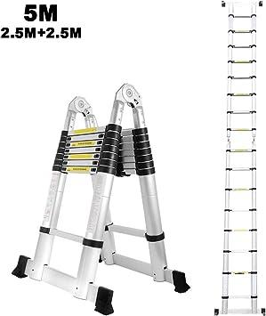 Escalera telescópica de aluminio de 5M, lado doble, 2,5M + 2,5M ...