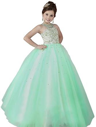 Amazon.com: HuaMei Girls\' Pageant Dresses Halter Tulle Girls Kids ...