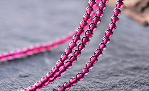 - Grade AAA Natural Rhodolite Garnet Beads 3mm-7.5mm Rose Red Color NOT Dyed Smooth Polished Round 15 Inch Strand GA13 (3.5mm)