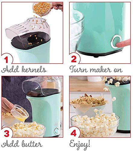 DASH DAPP150V2AQ04 Hot Air Popcorn Popper Maker with Measuring Cup to Portion Popping Corn Kernels + Melt Butter, 16, Aqua