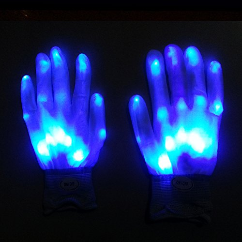 Autumn Water 1 Pair Halloween Lighting LED Gloves Glow Flash Colorful Skeleton Party Christmas Decorations Luminous Toys -