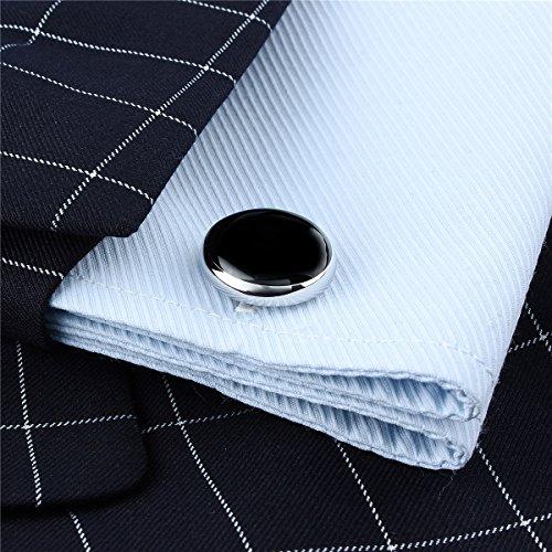 HAWSON Mens Black Cufflinks and Studs Set for Tuxedo Dress Shirt - Wedding Business Party Accessories by HAWSON (Image #3)