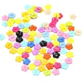 100xToruiwa Buttons Colorful Plastic Flower Shaped Buttons Children Clothes Sewing Accessories DIY Handmade Craft Decoration Multicolor (Type B)