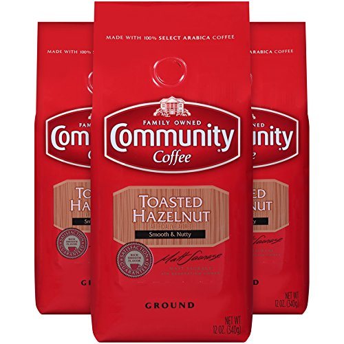 Community Coffee Toasted Hazelnut Flavored Medium Roast Premium Ground 12 Oz Bag (3 Pack), Medium Full Body Smooth Nutty Taste, 100% Select Arabica Coffee Beans