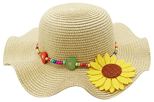 Kids Girls Multi-colors Large Brim Flower Beach Sun (Straw Hats For Kids)