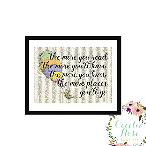 Oh The Places You'll Go Dr. Seuss The More You Read The More You'll Know Children's Book Art Typography Farmhouse Quote Upcycled Vintage Book Page Unframed Print]()
