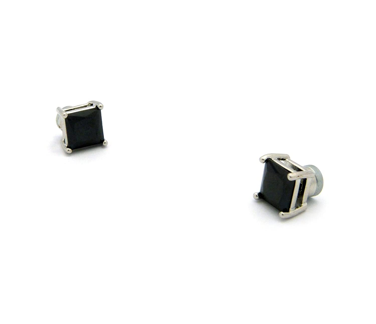 Silver Tone 4,5,6,7,8,9,10mm Jet Black Square Shape Cubic Zirconia Magnetic Stud Earring (All Size)