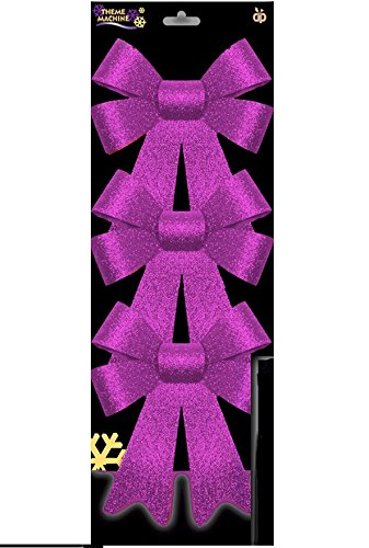 Pack Of 3 Glitter Christmas Bows   PINK   Christmas Tree Decoration
