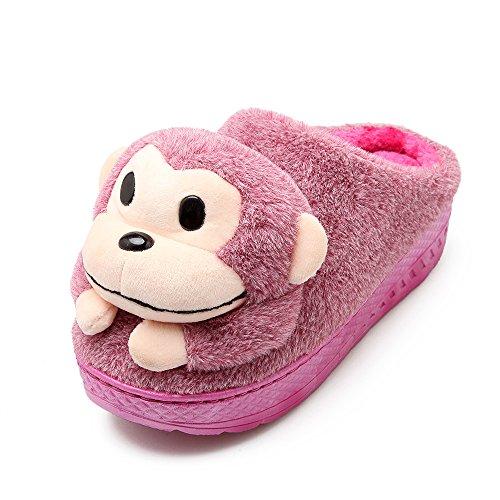 Y-Hui el invierno con zapatillas de algodón grueso Semi Zapatillas de Lana Zapatos interiores cálidos Lady Home,36-37 (Fit 34, 35 pies),violeta
