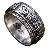 FORFOX Vintage 925 Sterling Silver Buddhism Om Mani Padme Hum Spinner Ring Engraved Swastika 10.5