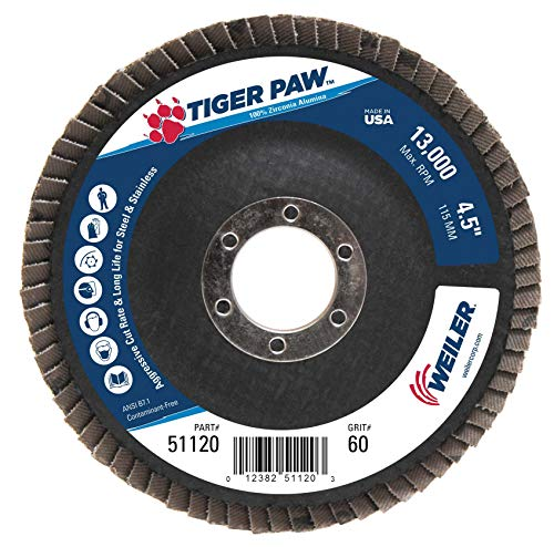 Weiler 51120 Tiger Paw High Performance Abrasive Flap Disc, Type 29 Angled Style, Phenolic Backing, Zirconia Alumina, 4-1/2