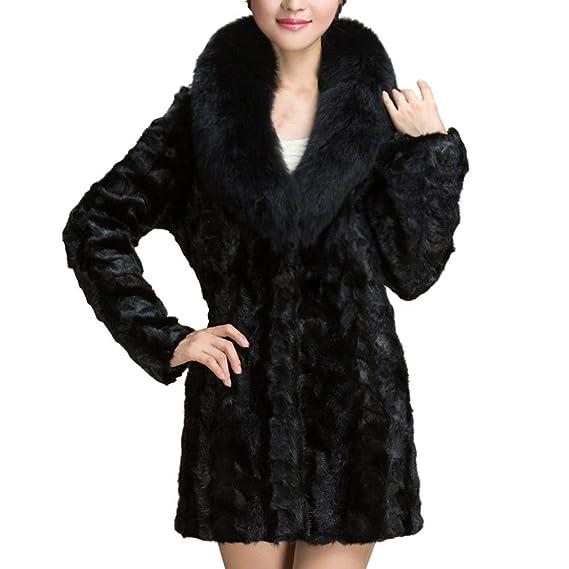 POLP Abrigos mujer Largo Invierno Mujer Invierno Abrigo Elegantes Abrigo de Cordero de Lana Artificial Chaqueta