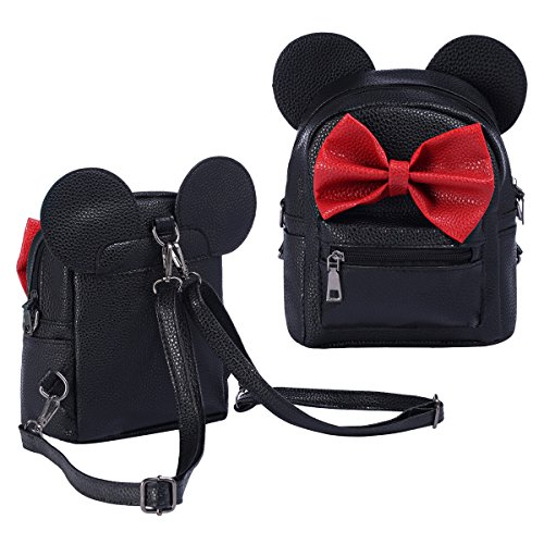 FYMNSI Toddlers Girls Mini Backpack Kids PU Leather Cute Mouse Bowknot Rucksack Daypacks Casual School Bag Black