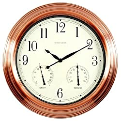 Ashton Sutton Indoor/Outdoor Wall Clock, Copper Finish Case