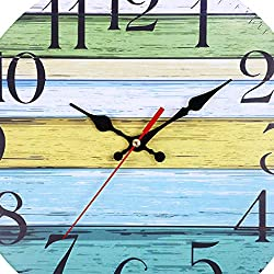 FIged 12 Inch Retro Wooden Wall Clock Farmhouse Decor, Silent Non Ticking Wall Clocks Large Decorative - Quality Quartz Battery Operated - Antique Vintage Rustic Colorful Tuscan Country Style
