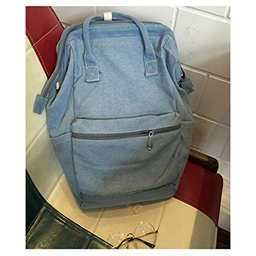 TM Unisex Fashion Light Rucksack Denim Casual Blue Backpack School Blue Light Binmer Bags Travel bag dC5qdE