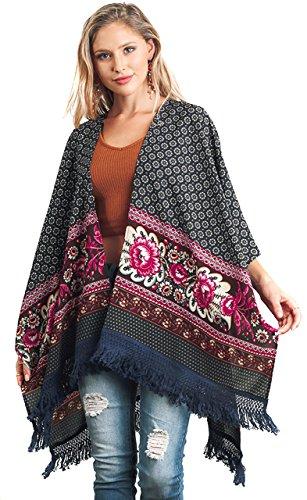 UMGEE Women#039s Bohemian Fringe Boho Chic Floral Cardigan Kimono Jacket Shawl Burgundy M/L