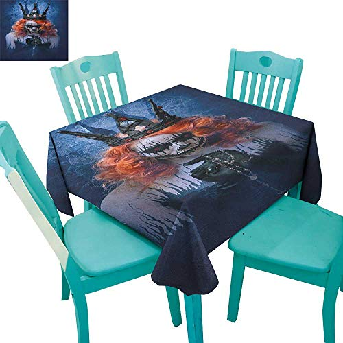 longbuyer Queen,Washable Tablecloth,Queen of Death Scary Body Art Halloween Evil Face Bizarre Make Up Zombie,70