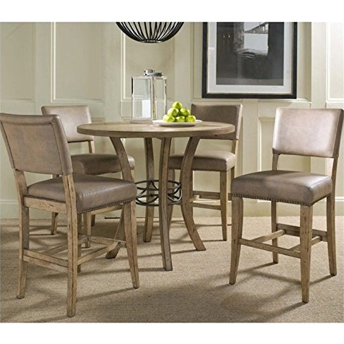 Bowery Hill 5 Piece Round Counter Height Dining Set in Desert Tan