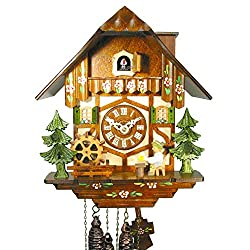 German Cuckoo/coo-coo Clock Black-Forest House/Chalet, Mechanical 1-Day Movement with Music and Movable Beer-Drinker, Mill-Wheel, and Chimney Sweep, from Germany (Original, Certified)