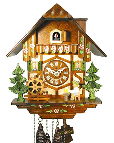 - German Cuckoo/coo-coo Clock Black-Forest House/Chalet, Mechanical 1-Day Movement with Music and Movable Beer-Drinker, Mill-Wheel, and Chimney Sweep, from Germany (Original, Certified)