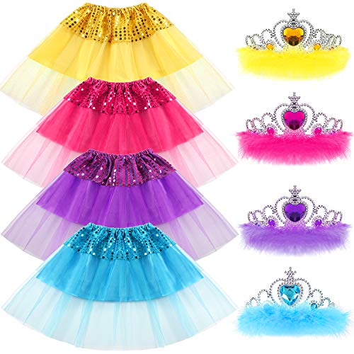 G.C Princess Dress up Clothes for Little Girls Gift Tiara Set Birthday Bellet Party Favors Tutu Skirts for Girls]()