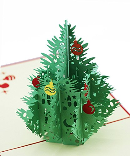 ENJOYPRO 3D Greeting Cards Christmas Tree Pop Up Birthday Card Laser Cut with Envelope (Red, set of (Disney Discount Code)