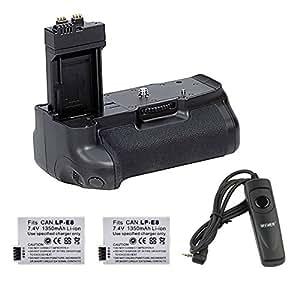 Neewer® Batería grip Vertical Recambio de BG-E8 + 2pcs batería reemplazo de LP-E8 de litio-ion + control remoto disparador para Canon 550D / 600D / 650D / Rebel T2i / T3i / T4i / beso X5 / KissX4 Cámaras Réflex