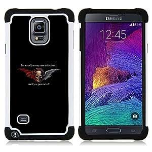 - WINGS BLACK DEVIL HORNS ANGEL DUALITY - - Doble capa caja de la armadura Defender FOR Samsung Galaxy Note 4 SM-N910 N910 RetroCandy