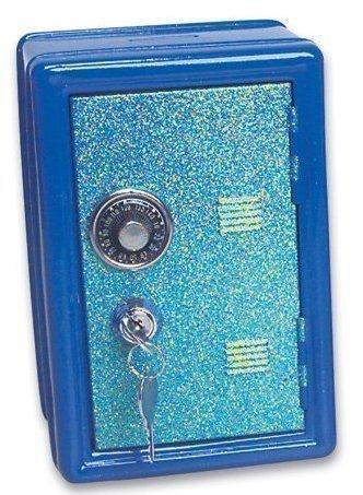 Metal Toy Safe, Locker Bank with Glittery Door, Key Lock plus Combination Lock (Assorted Colors)