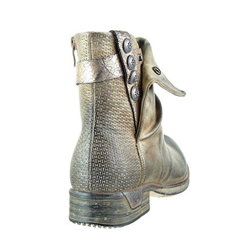 Scarpe Tacco Cavalier Donna Cm Scarponcini Stivaletti Oro 3 Blocco Angkorly Bi materiale Nodo A Camouflage Trapuntata Moda dPnWwg