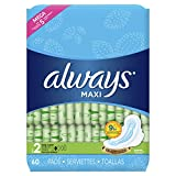 Always Maxi Size 2 Feminine Pads with Wings, Long, Super Absorbency, Unscented, 60 Count (Packaging May Vary)