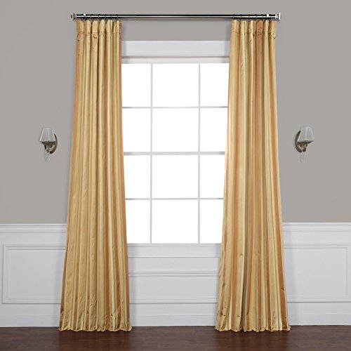 - Pts-SLK16-108 Luxury Faux Silk Stripe Curtain, 50 x 108