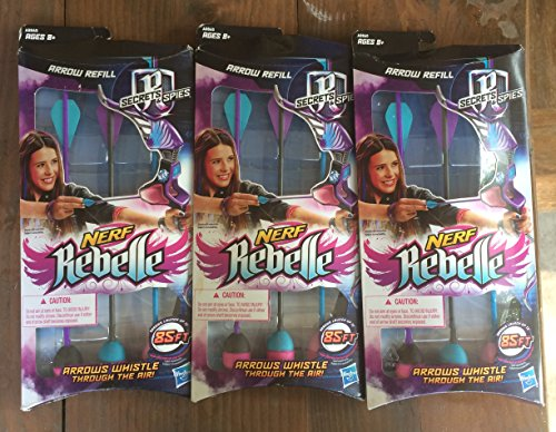 3 Pack Bundle of Nerf Rebelle Arrow Refills: Launch Up to 85ft (Toy Pink Pump Action Shotgun)