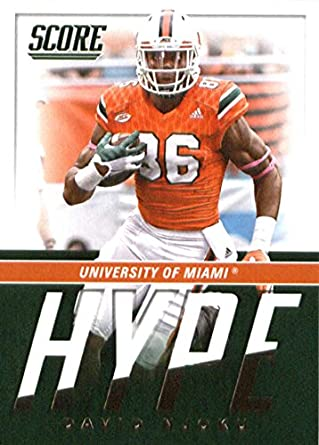 Amazon Com 2017 Score Hype 9 David Njoku Miami Hurricanes Football