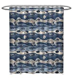 Circo Fish Shower Curtain Anhuthree Fish Shower Curtains Digital Printing Asian Inspired Geometric Aquarium Animal Geometric Pattern Cartoon Style Custom Made Shower Curtain W72 x L96 Slate and Cadet Blue Tan