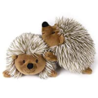 PAWABOO Plush Dog Toy, [2 Pack] Non-Toxic Super Soft Faux-Fur Hedgehog Dog Toy Stuffed Biting Training Playing Toys for Dog Puppy, Brown