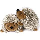 PAWABOO Plush Dog Toys, [2PACK] Stuffed Animal Toy Plush Pet Squeaky Toys Soft Faux-Fur Pet Rattle Puppy Bite Play Chew Toys Non-Toxic Plush Doll - Brown