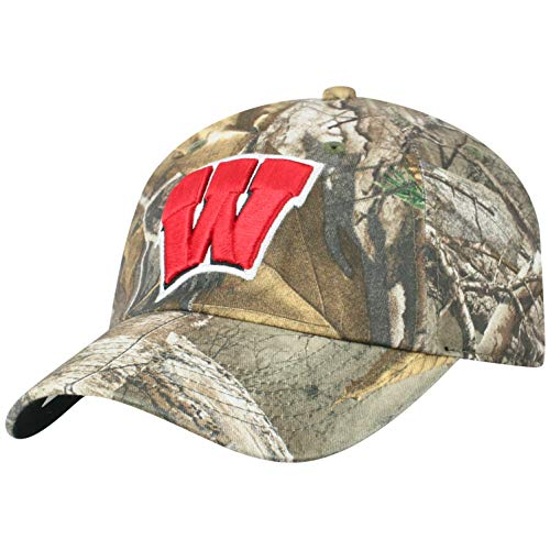 (Top of the World NCAA Men's Real Tree Camo Adjustable Icon Hat, Wisconsin Badgers)