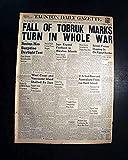 #8: TOBRUK AFRICA Captured by Nazis Erwin Rommel TANKS World War II 1942 Newspaper