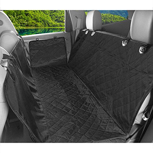 Dog Car Seat Covers, Dog Car Hammock, Pet Seat Covers with Seat Anchors for Cars, Trucks and SUVs, Large Size 58×54 Inch Waterproof Dog Bed Covers, Anti-Scratch, Non-Slip & Hammock Convertible, Black by Aukor